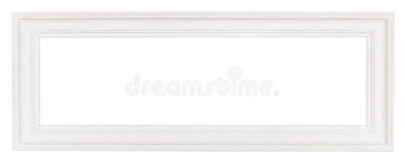 Marco de madera panorámico blanco ancho imagenes de archivo