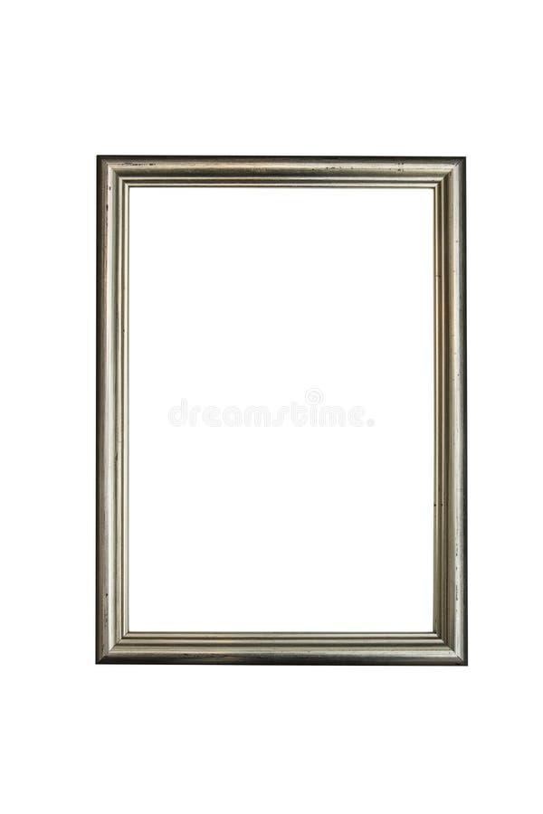 Marco de madera de plata para las fotografías y las pinturas aisladas en el fondo blanco trayectoria ahorrada fotos de archivo libres de regalías