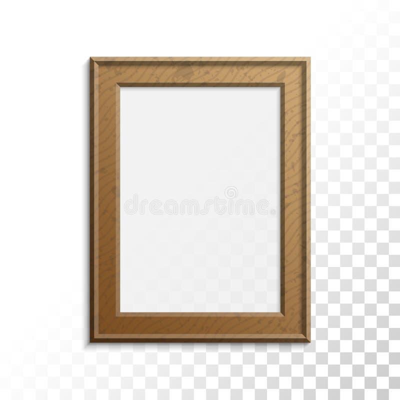 Marco de madera realista de la foto ilustración del vector