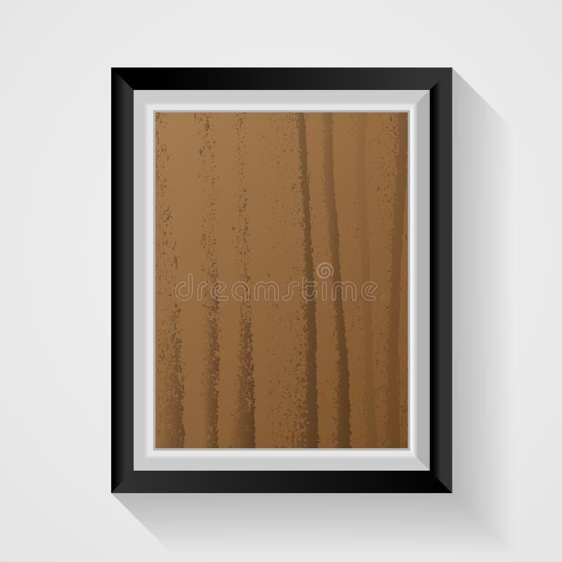Marco de madera realista de la foto en el fondo blanco Decoración y ilustración del vector