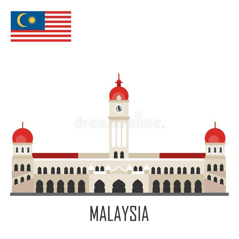 Marco de Malásia Palácio de Abdul Samad da sultão ilustração do vetor