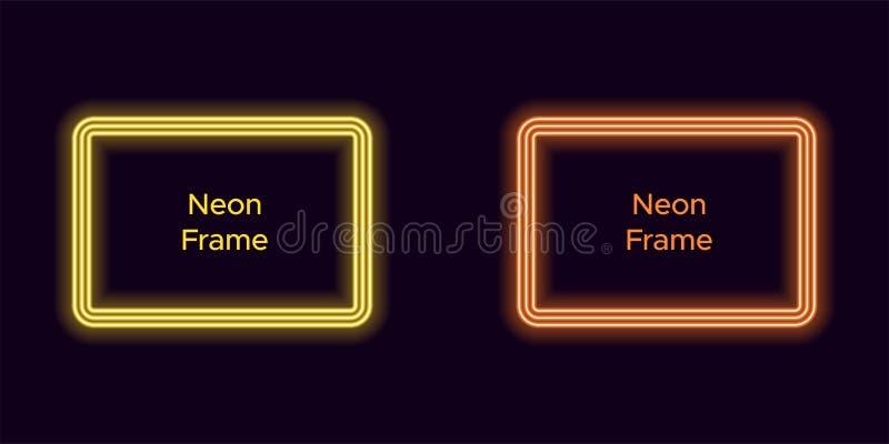 Marco de neón del rectángulo en color amarillo y anaranjado ilustración del vector