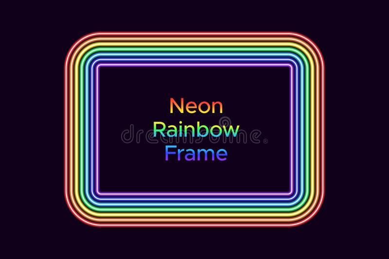 Marco de neón del rectángulo en color del arco iris libre illustration