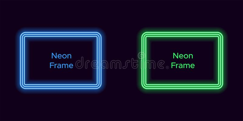 Marco de neón del rectángulo en color azul y verde ilustración del vector