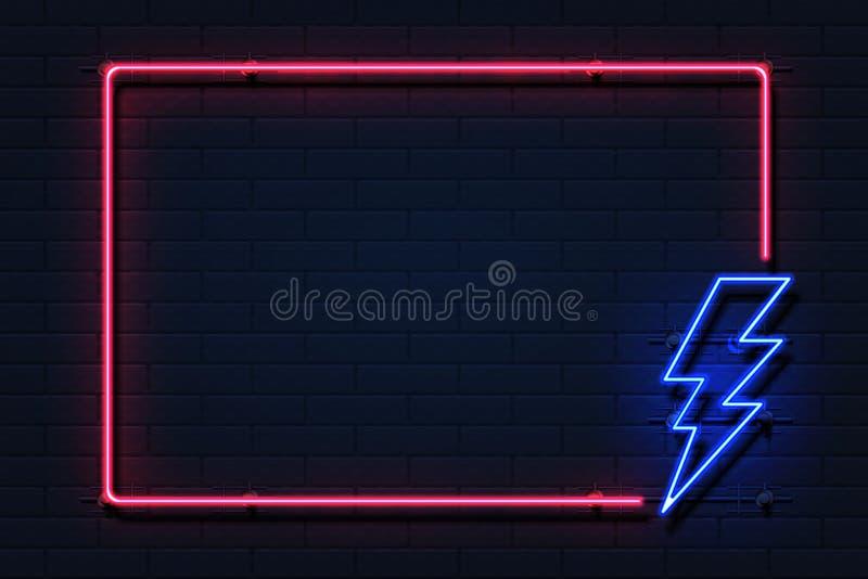 Marco de neón del relámpago Logotipo de destello del poder de la electricidad en el fondo negro, concepto del fallo eléctrico Hué ilustración del vector
