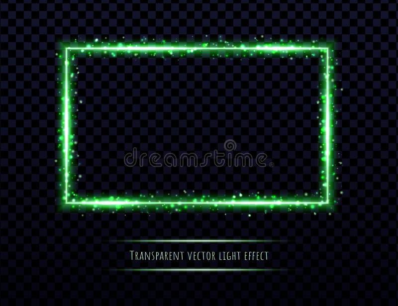 Marco de neón verde con efectos luminosos aislado sobre fondo transparente libre illustration