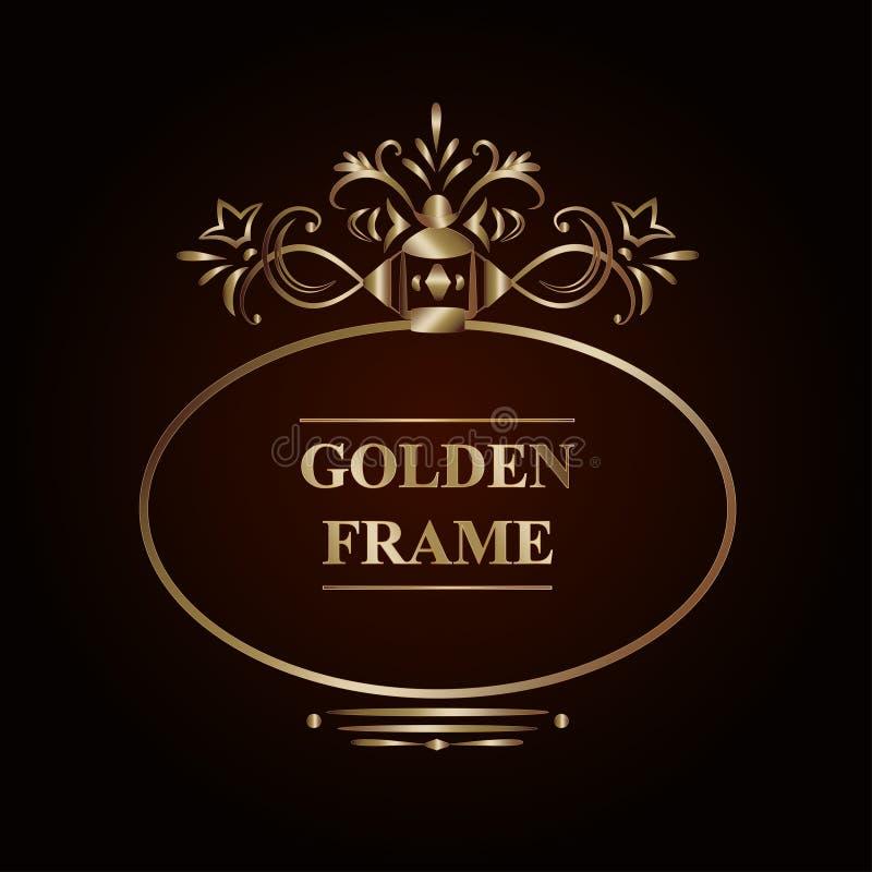 Marco de oro adornado ilustración del vector