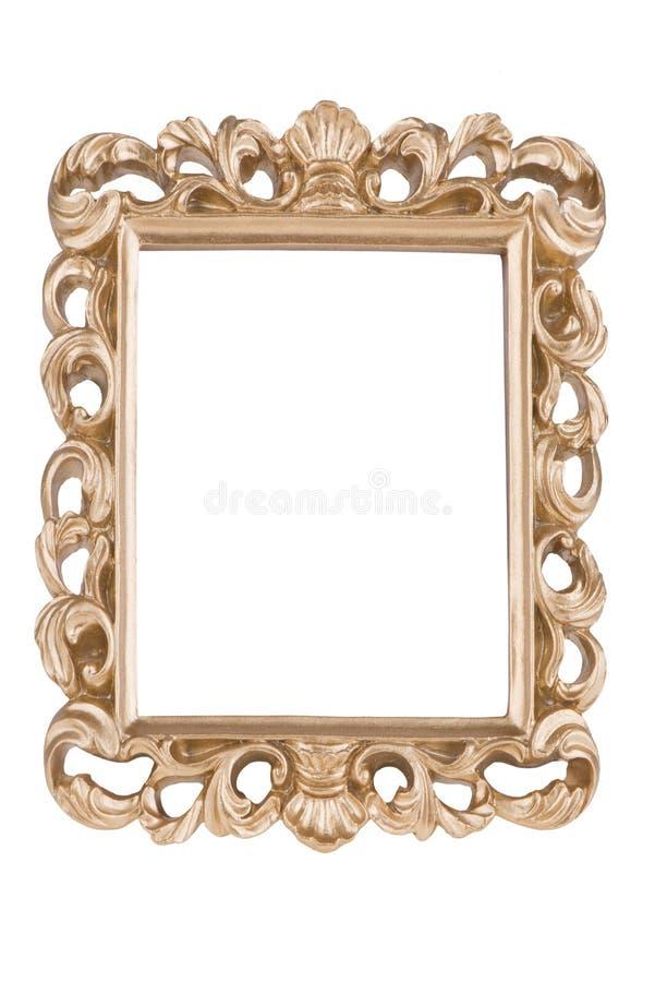 Marco de oro, aislado en el fondo blanco fotos de archivo