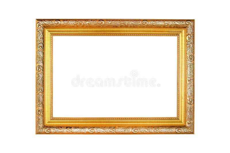 Marco de oro antiguo aislado en el fondo blanco Marco del oro aislado Marco de oro aislado foto de archivo
