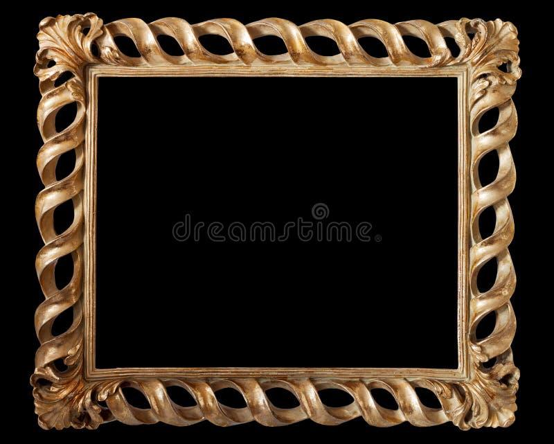 Marco de oro antiguo aislado en negro imágenes de archivo libres de regalías