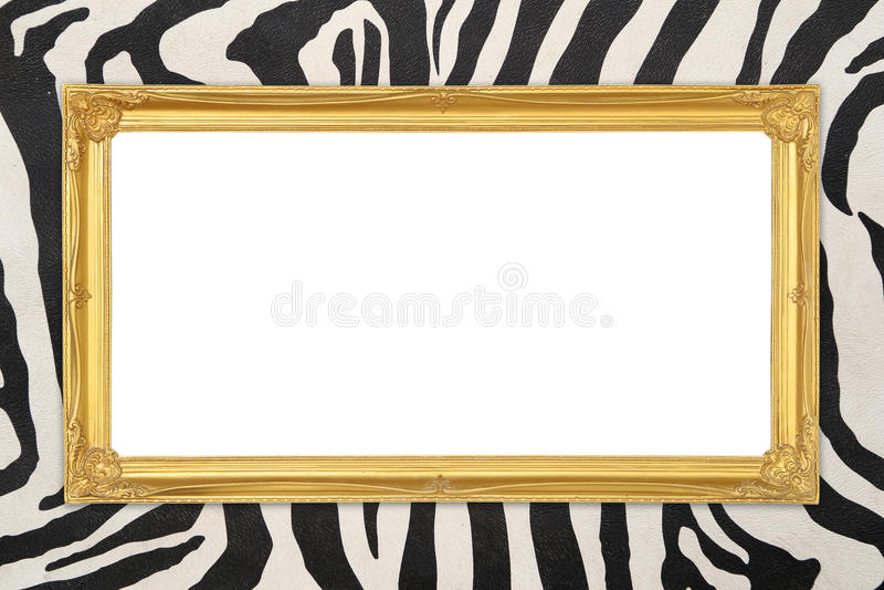 Marco de oro con el fondo de la textura de la cebra fotos de archivo