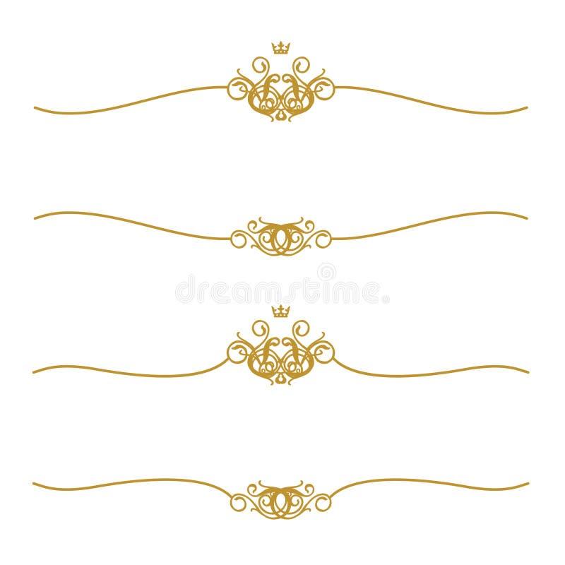 Marco de oro con la corona stock de ilustración