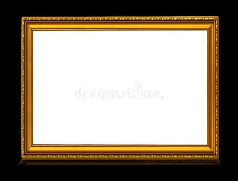 Marco de oro con la reflexión imagenes de archivo
