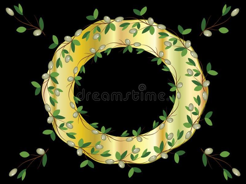 Marco de oro con las ramas de olivo stock de ilustración