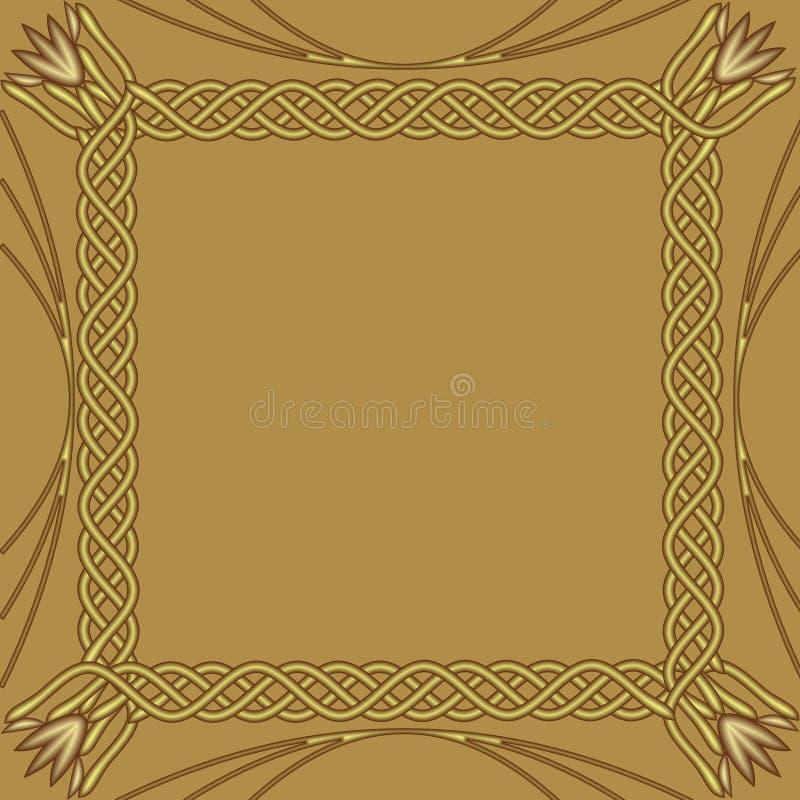 Marco de oro cuadrado en fondo de oro Frontera decorativa con efecto grabado en relieve Plantilla lujosa elegante para a ilustración del vector