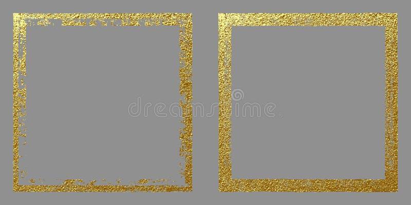 Marco de oro cuadrado en un fondo gris Ejemplo abstracto del vector del oro ilustración del vector