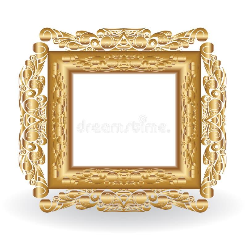 Marco de oro de la vendimia ilustración del vector