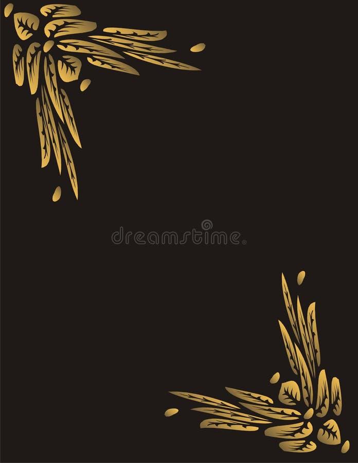 Marco De Oro De Las Flores De Mariposa Stock de ilustración ...