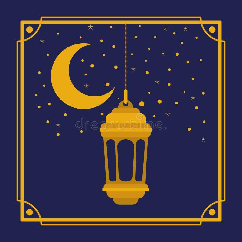 Marco de oro del kareem del Ramadán con el colgante de la lámpara y de la luna libre illustration