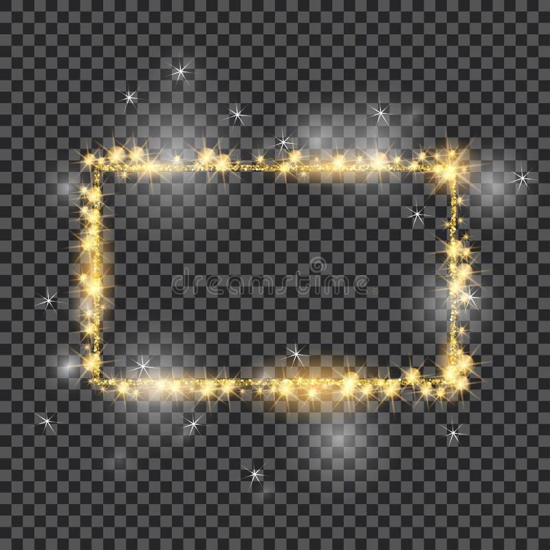 Marco de oro del vector con efectos luminosos Bueno para el día de fiesta de la Navidad 2018 Bandera brillante del rectángulo en  ilustración del vector