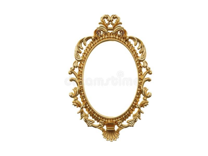 Marco de oro del vintage, espejo Elemento retro del diseño reflexión realista física representación 3d stock de ilustración
