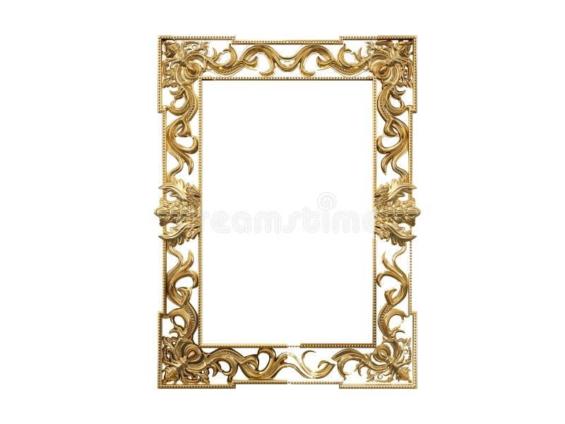 Marco de oro del vintage, espejo Elemento retro del diseño reflexión realista física representación 3d libre illustration