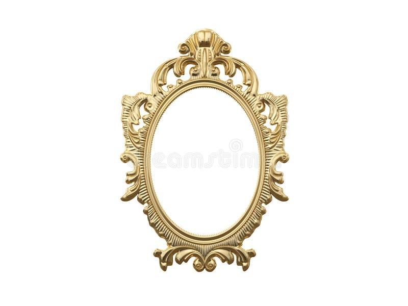 Marco de oro del vintage, espejo Elemento retro del diseño reflexión realista física representación 3d ilustración del vector