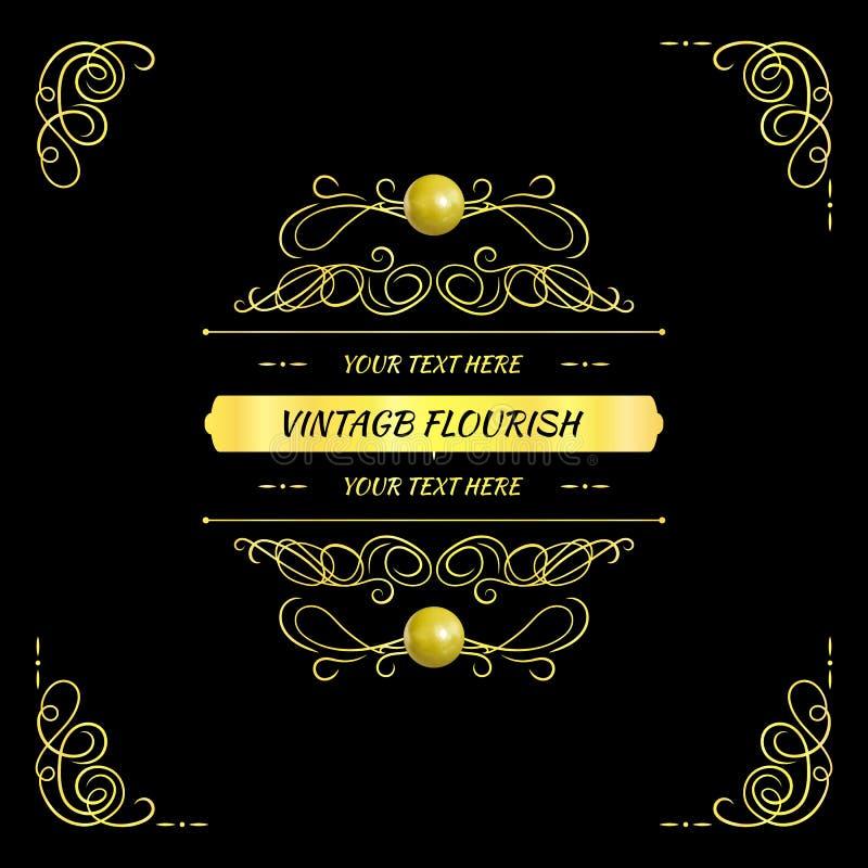 Marco de oro del vintage del vector, elemento del diseño en el fondo negro, tarjeta elegante stock de ilustración