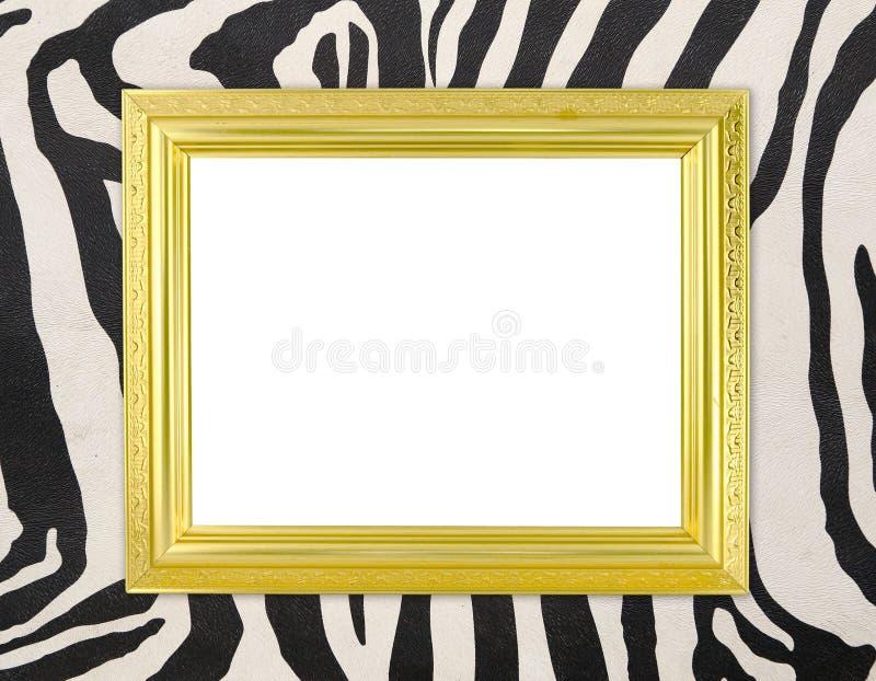 Marco de oro en blanco con textura de la cebra fotos de archivo