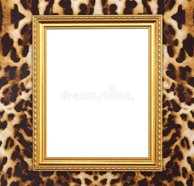 Marco de oro en blanco con textura del leopardo foto de archivo