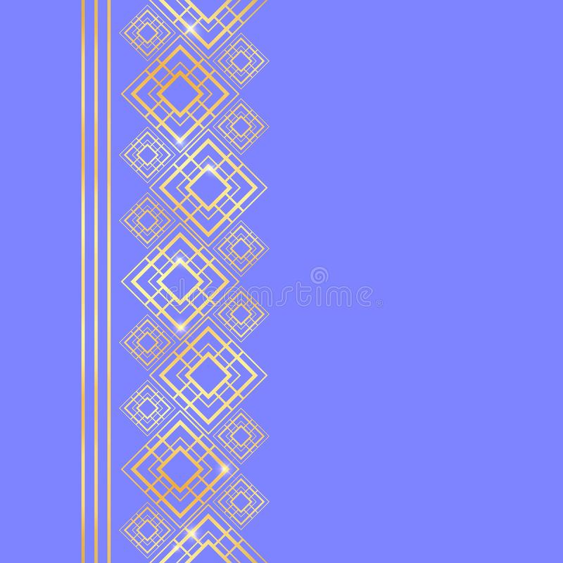 Marco de oro en estilo de lujo Frontera inconsútil para el diseño Fondo del azul y del oro Tarjeta noble con el lugar para el tex libre illustration