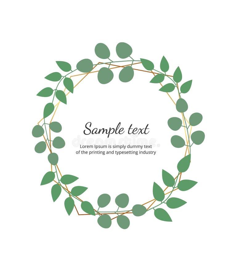 Marco de oro geométrico poligonal con el eucalipto de las hojas La plantilla botánica del diseño para casarse, invitación, ahorra ilustración del vector