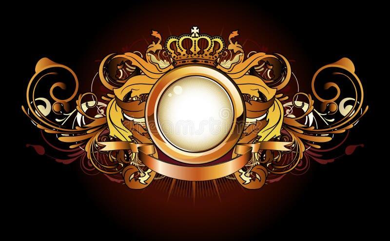 Marco de oro heráldico ilustración del vector