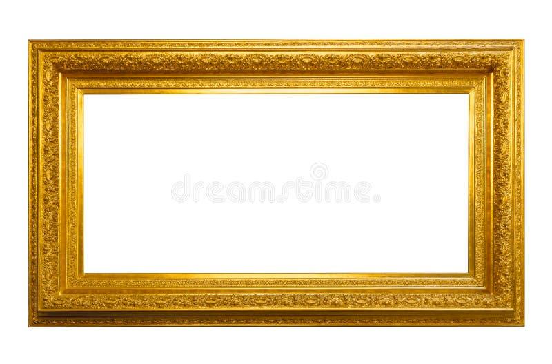 Marco de oro horizontal antiguo aislado en blanco foto de archivo