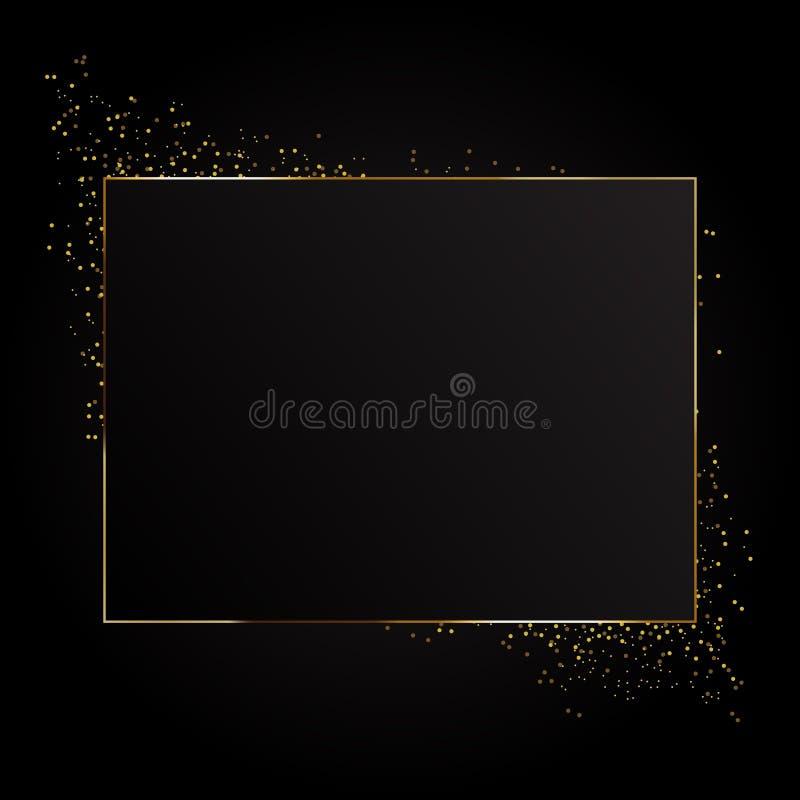Marco de oro de la chispa del rectángulo Aislado en fondo transparente negro stock de ilustración