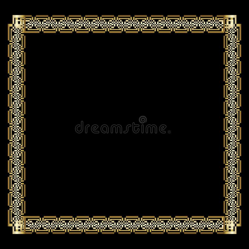 Marco de oro lujoso adornado en estilo del art déco en fondo negro Frontera cuadrada elegante con efecto grabado en relieve 3d ilustración del vector