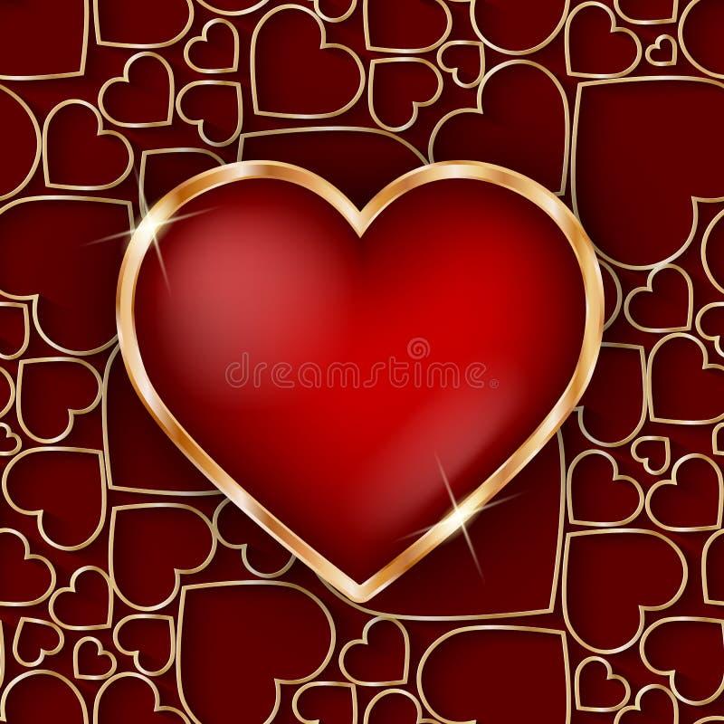Marco de oro precioso del corazón con el corazón del rojo 3d stock de ilustración