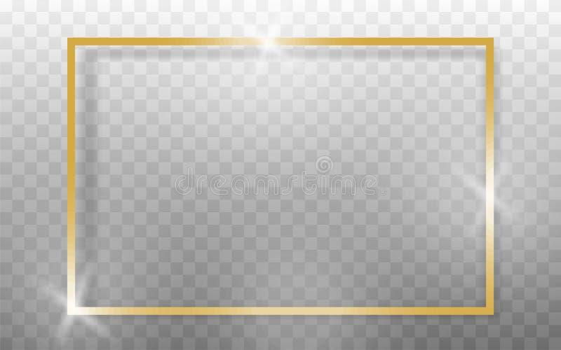 Marco de oro realista en fondo transparant Vector stock de ilustración