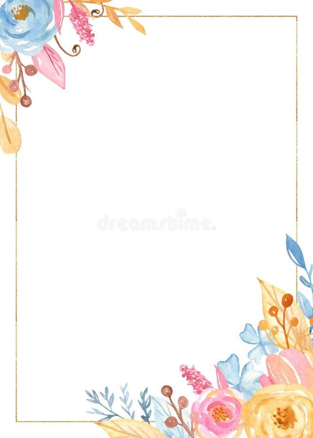 Marco de oro rectangular de la acuarela con las flores Colección romántica del unicornio ilustración del vector