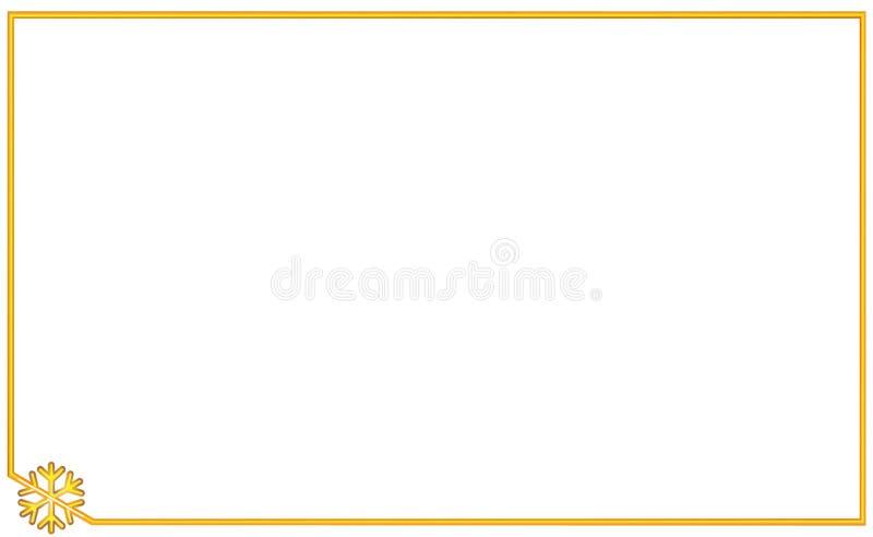 Marco de oro simple con el copo de nieve del elemento de la esquina Año Nuevo y ejemplo de la Navidad Frontera volumétrica del or ilustración del vector
