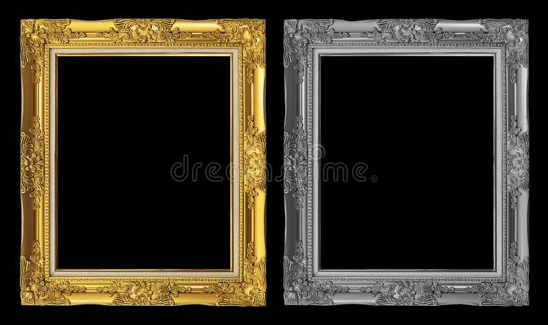 marco de oro y gris antiguo aislado en el fondo negro, trayectoria de recortes imagenes de archivo