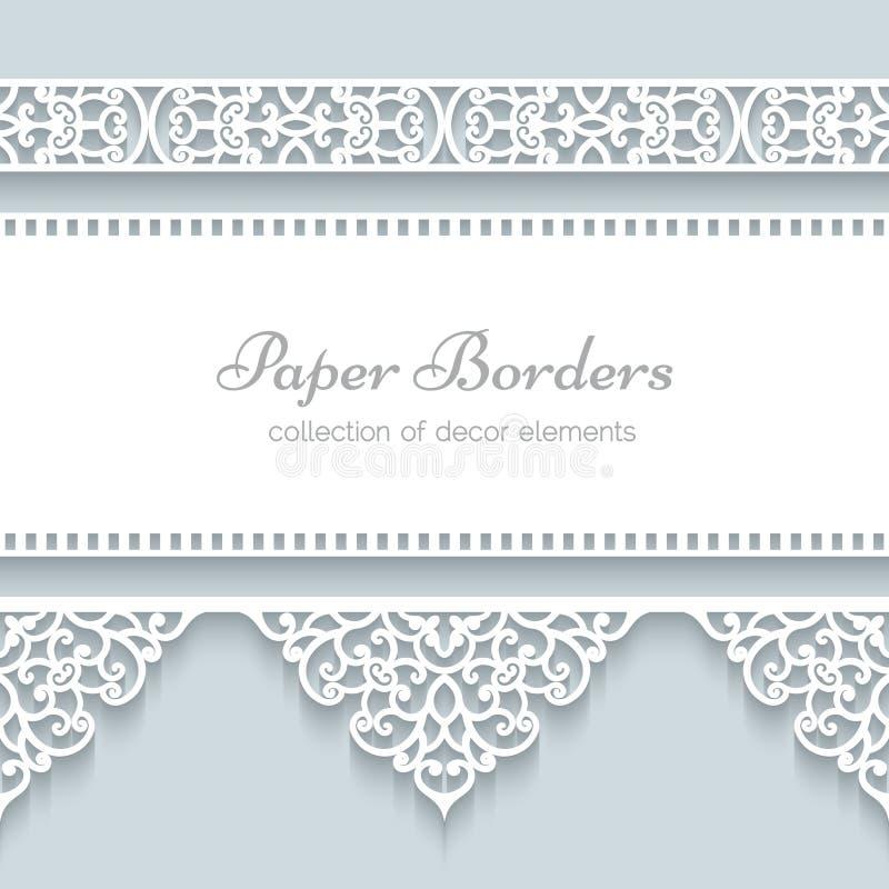 Marco de papel con las fronteras del cordón stock de ilustración