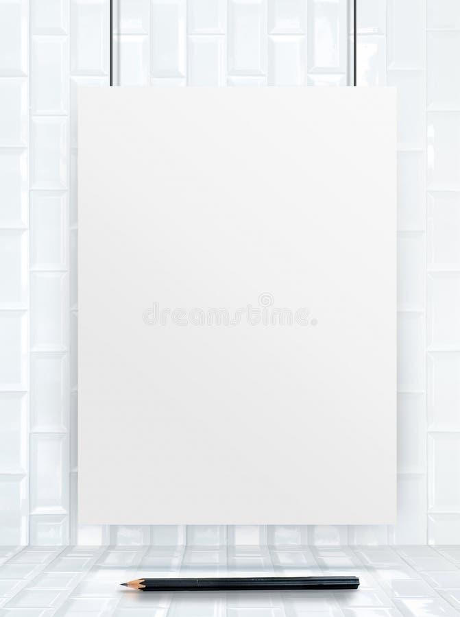 Marco de papel del cartel de la ejecución en las baldosas cerámicas pared y piso, libre illustration