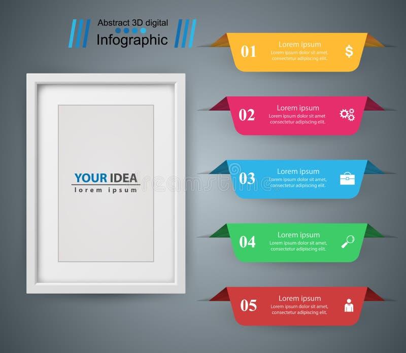 Marco de papel - icono de los busines e infographic ilustración del vector