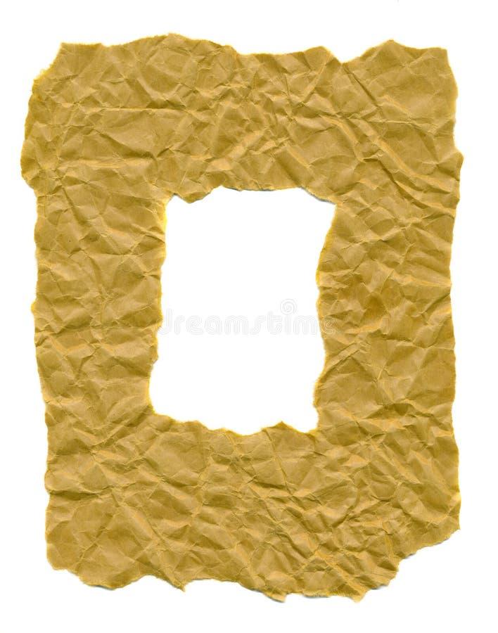Marco de papel Rumpled aislado en blanco imagen de archivo