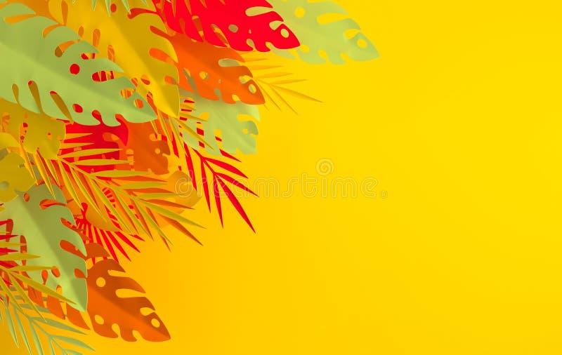 Marco de papel tropical de las hojas de palma Hoja colorida tropical del verano Follaje hawaiano ex?tico de la selva de la papiro stock de ilustración
