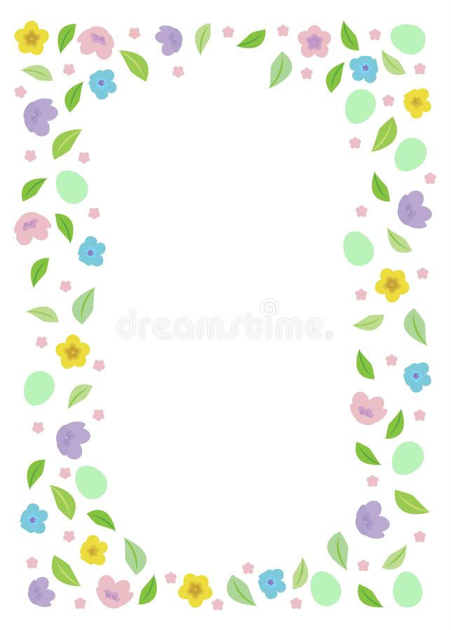 Marco de Pascua para el texto con los huevos, flores de los multicolors de las hojas stock de ilustración
