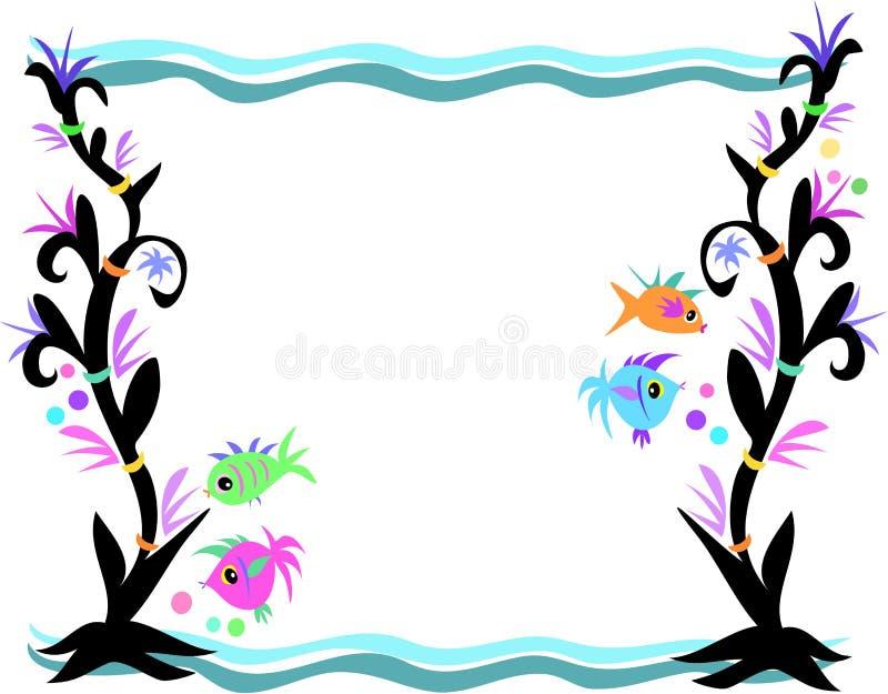 Marco de pescados, de la alga marina, y de ondas stock de ilustración