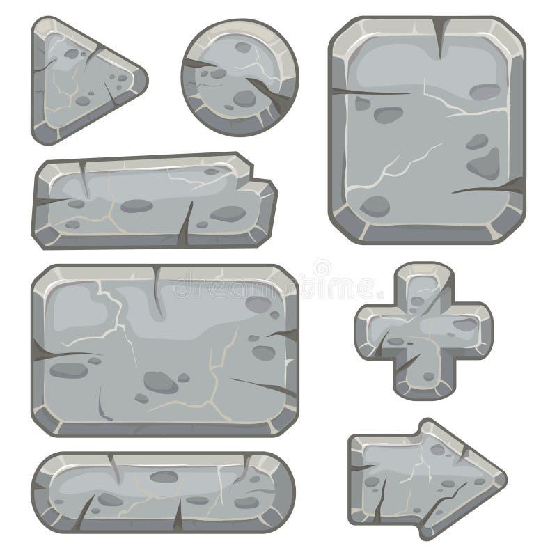 Marco de piedra La bandera de las rocas de los escombros, piedras bloquea flechas y la tableta de la roca de la grava enmarca el  libre illustration