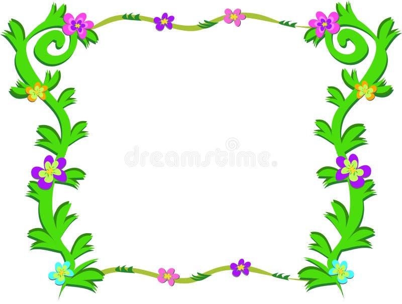Marco de plantas verdes y de flores coloridas ilustraci n - Marcos para plantas ...